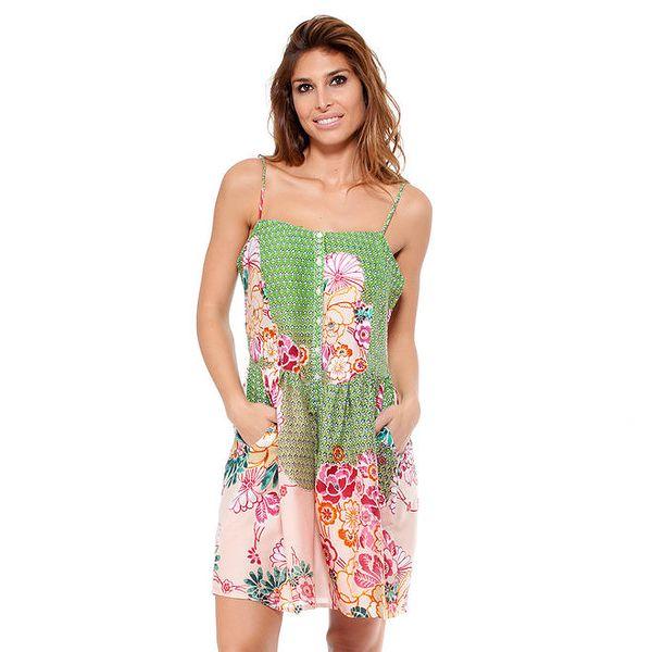 Dámské zeleno-růžové šaty na ramínka Janis