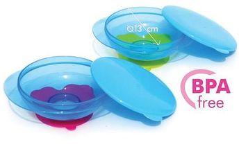 Baby Ono - miska s přísavkou a víčkem 1024 - modro-růžová
