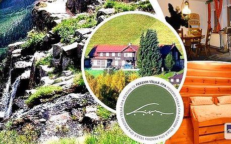 Užijte si báječnou dovolenou v Krkonoších -pobyt na 3 nebo 4 dny pro 2 osoby v penzionu Lion s polopenzí,kulečníkem a sportovním vyžitím