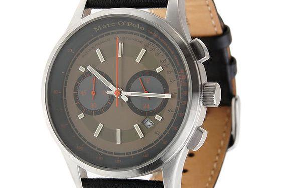 Pánské hodinky Marc O´Polo s černým koženým řemínkem a hnědým ciferníkem