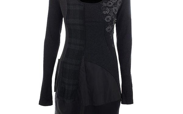 Dámské šedo-černé šaty s kostkou a květinami Angels Never Die