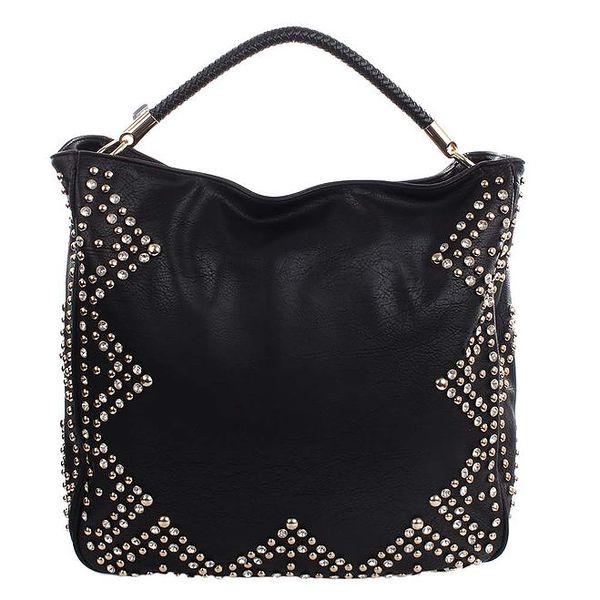 Dámská černá kabelka s kamínky a cvočky London Fashion