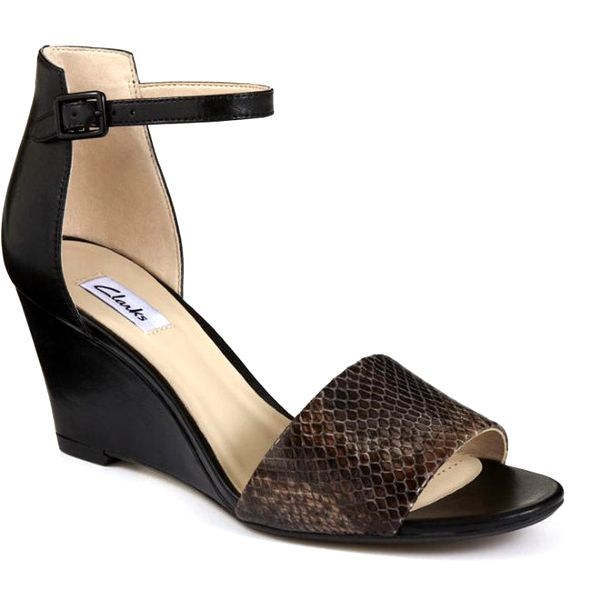 Dámské černé sandálky s hadím vzorem Clarks