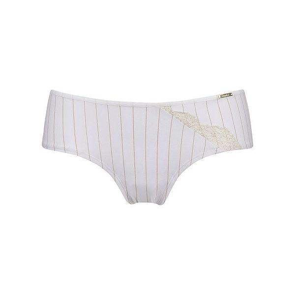 Dámské bílé kalhotky se zlatými proužky a krajkou Sapph