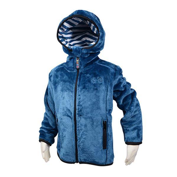 Modrá chlupatá mikina s kapucí