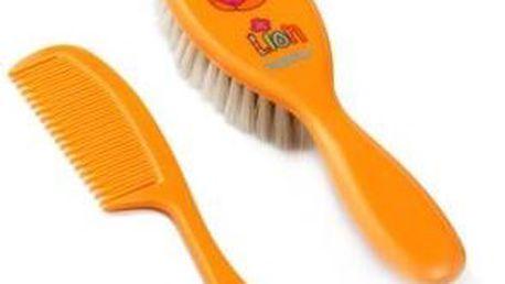 Baby ono - hřebínek + kartáč přírodní vlas Safari - oranžový Lev - 563