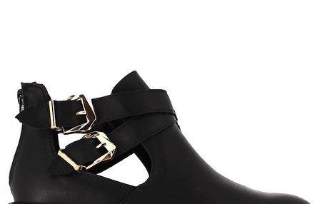 Dámské černé boty s průstřihy a dvěma přezkami Shoes and the City