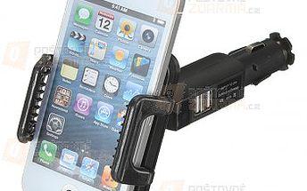 Držák na telefon do autozapalovače s 2 x USB zásuvkou a poštovné ZDARMA! - 25513037
