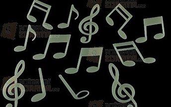 Fluorescentní nálepky na zeď s hudebním motivem - balení 15 ks a poštovné ZDARMA! - 25802534
