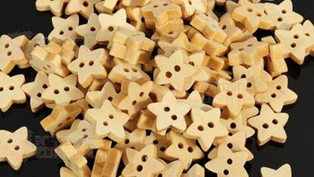 Balení 100 ks dřevěných knofíku ve tvaru hvězdičky a poštovné ZDARMA! - 25813034