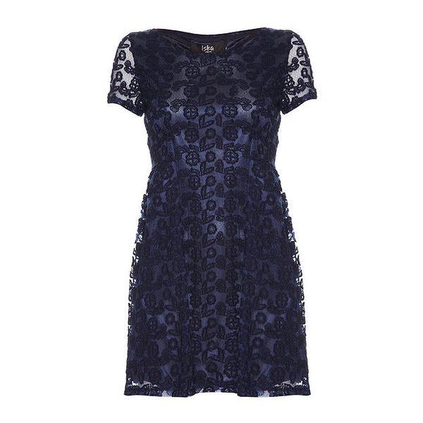 Dámské modré šaty se vzorem Iska