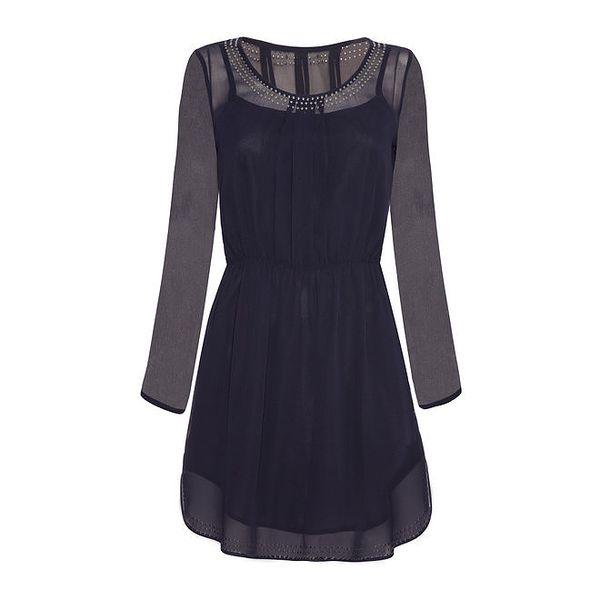 Dámské tmavě modré šaty s ozdobnými cvočky Iska