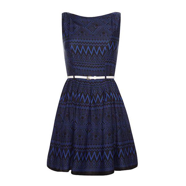 Dámské modré šaty s aztéckými motivy Iska