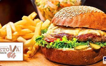 Dva šťavnaté burgery z jihoamerického býka s opraženou slaninou, cibulkou, sýrem cheddar a BBQ omáčkou v domácí rozpečené cibulové bulce. Salát coleslaw a hromada domácích steakových hranolek k tomu! Pravá americká klasika v Sametové restauraci.