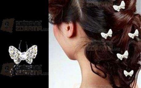 Motýlci do vlasů s kamínky a poštovné ZDARMA! - 29613087