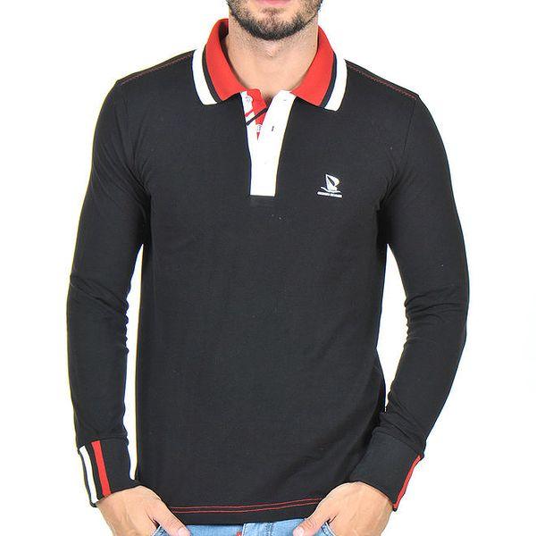 Pánské černé polo triko s pruhovaným límečkem Giorgio di Mare