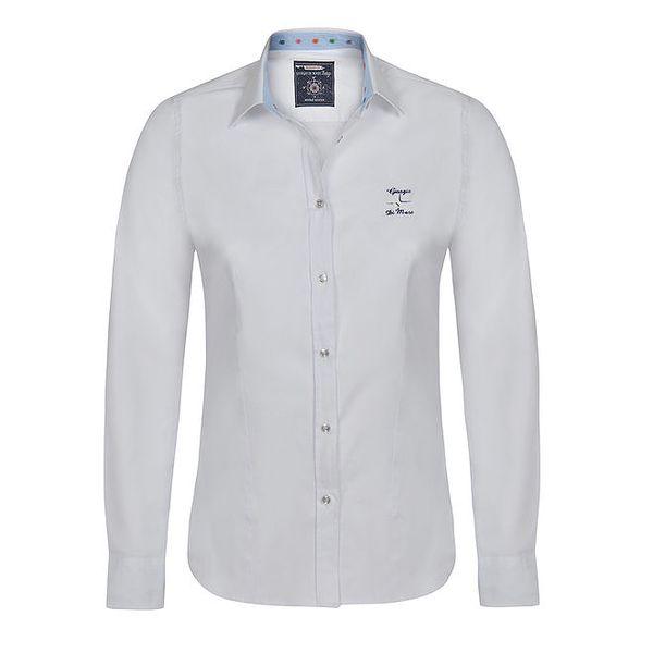 Dámská bílá košile s modrými manžetami Giorgio di Mare