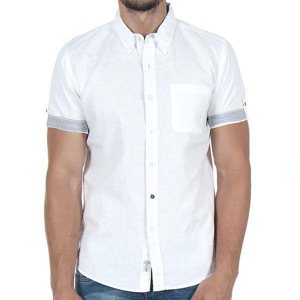 Pánská bílá košile s proužky na rukávu Giorgio di Mare