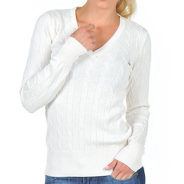 Dámský bílý svetr s véčkovým výstřihem Giorgio di Mare