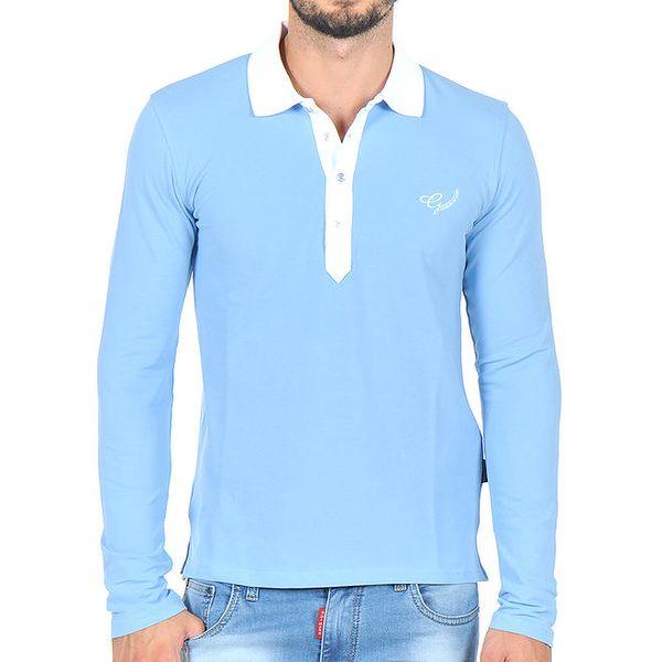 Pánské modré polo tričko s bílým límečkem Giorgio di Mare