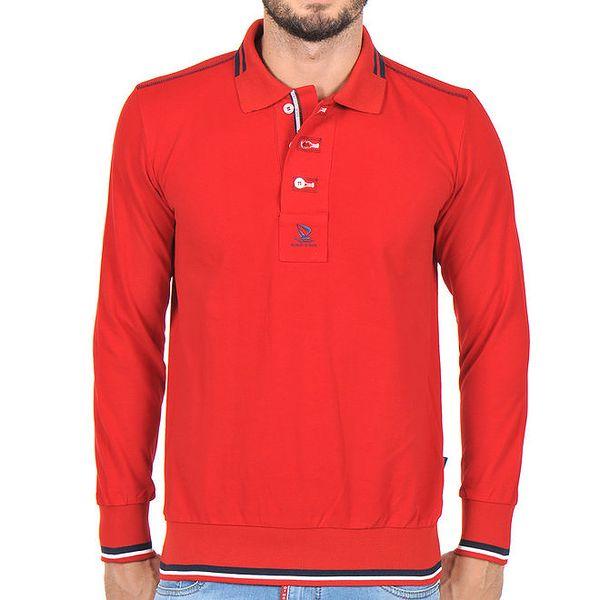 Pánské červené polo tričko s dlouhým rukávem Giorgio Di Mare