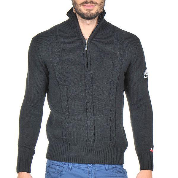Pánský černý vzorovaný svetr se stojáčkem Giorgio di Mare
