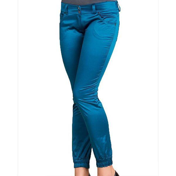 Dámské modré lesklé kalhoty Keysha