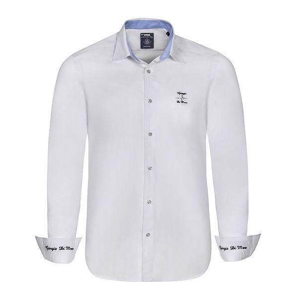 Pánská bílá košile s modrými výšivkami Giorgio di Mare