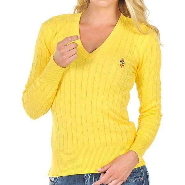 Dámský žlutý svetřík s plastickým vzorem Giorgio di Mare