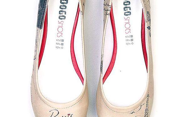 Dámské krémové balerínky s motivem Paříže Dogo
