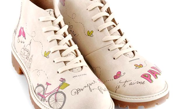 Dámské nízké krémové šněrovací boty s motivem Paříže Dogo