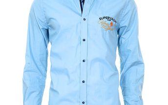 Pánská modrá košile se vzorovanými manžetami Pontto