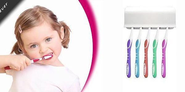 Praktický dávkovač zubní pasty s držákem pro 5 kusů kartáčků. Pořiďte si tuto vychytávku do vaší koupelny s fantastickou slevou!