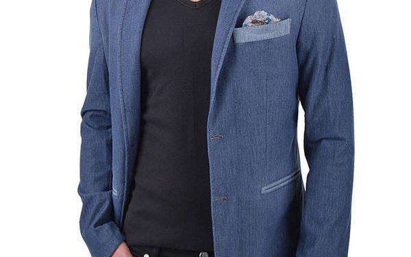 Pánské modré sako s ozdobnou kapsičkou a knoflíčkem RNT23