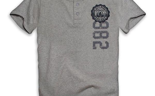 Pánské šedé triko s knoflíčky a potiskem Paul Stragas