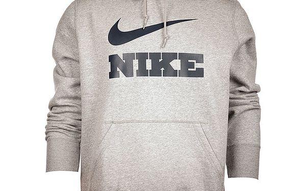 Pánská světle šedá melírovaná mikina Nike s kapucí a černým logem