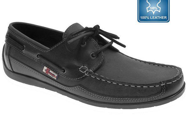 Pánské černé kožené boty s prošívanou špičkou Beppi