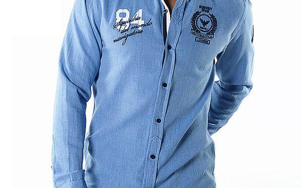 Pánská světle modrá košile s nášivkami Bendorff