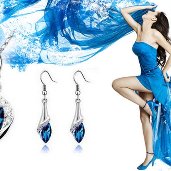 Šperky stříbrné barvy s modrým kamínkem, poštovné zdarma