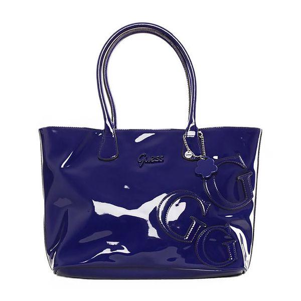 Dámská lesklá kabelka v modré barvě Guess