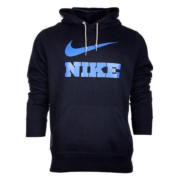 Pánská tmavě modrá mikina Nike s kapucí a modrým logem