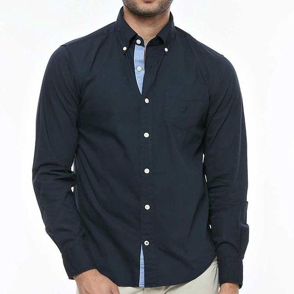 Pánská tmavě modrá košile s kontrastní légou Nautica