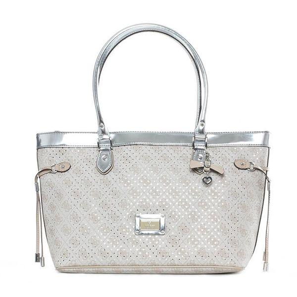 Dámská světle béžová kabelka se stříbrnými prvky Guess