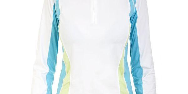 Dámské bílé funkční tričko s tyrkysovými prkvy Trespass