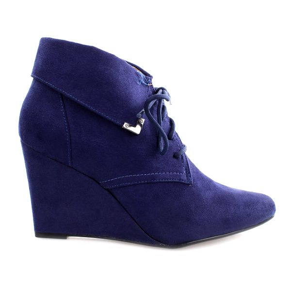 Dámské modré boty na klínku s tkaničkou Vizzano