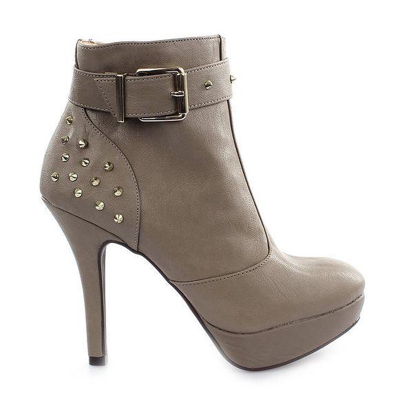 Dámské šedé boty na vysokém podpatku Vizzano