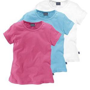 Tričko 3 ks, růžová, tyrkysová, bílá
