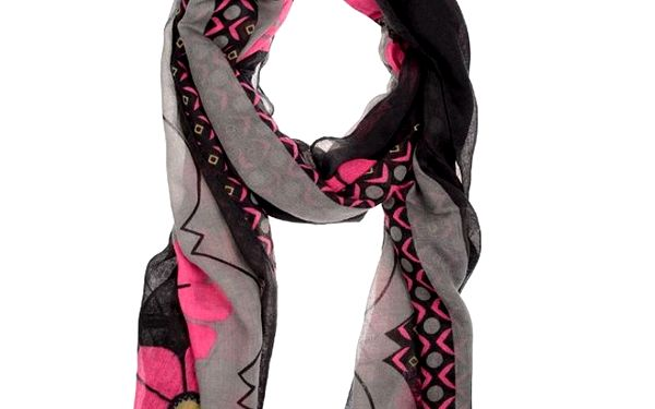 Dámský černo-šedý šátek s růžovým potiskem Invuu London