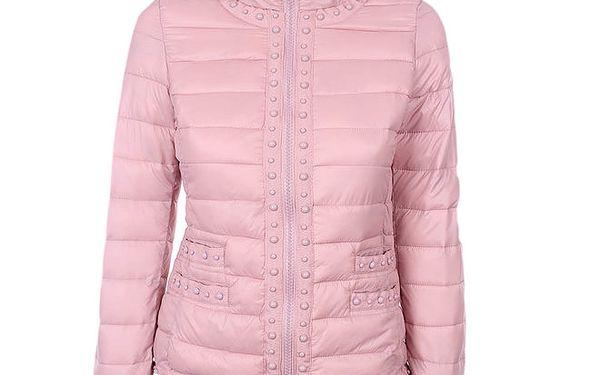 Dámská růžová prošívaná bunda s kuličkami Airy