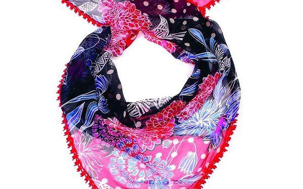 Dámský barevný šátek s červeným lemem Fraas